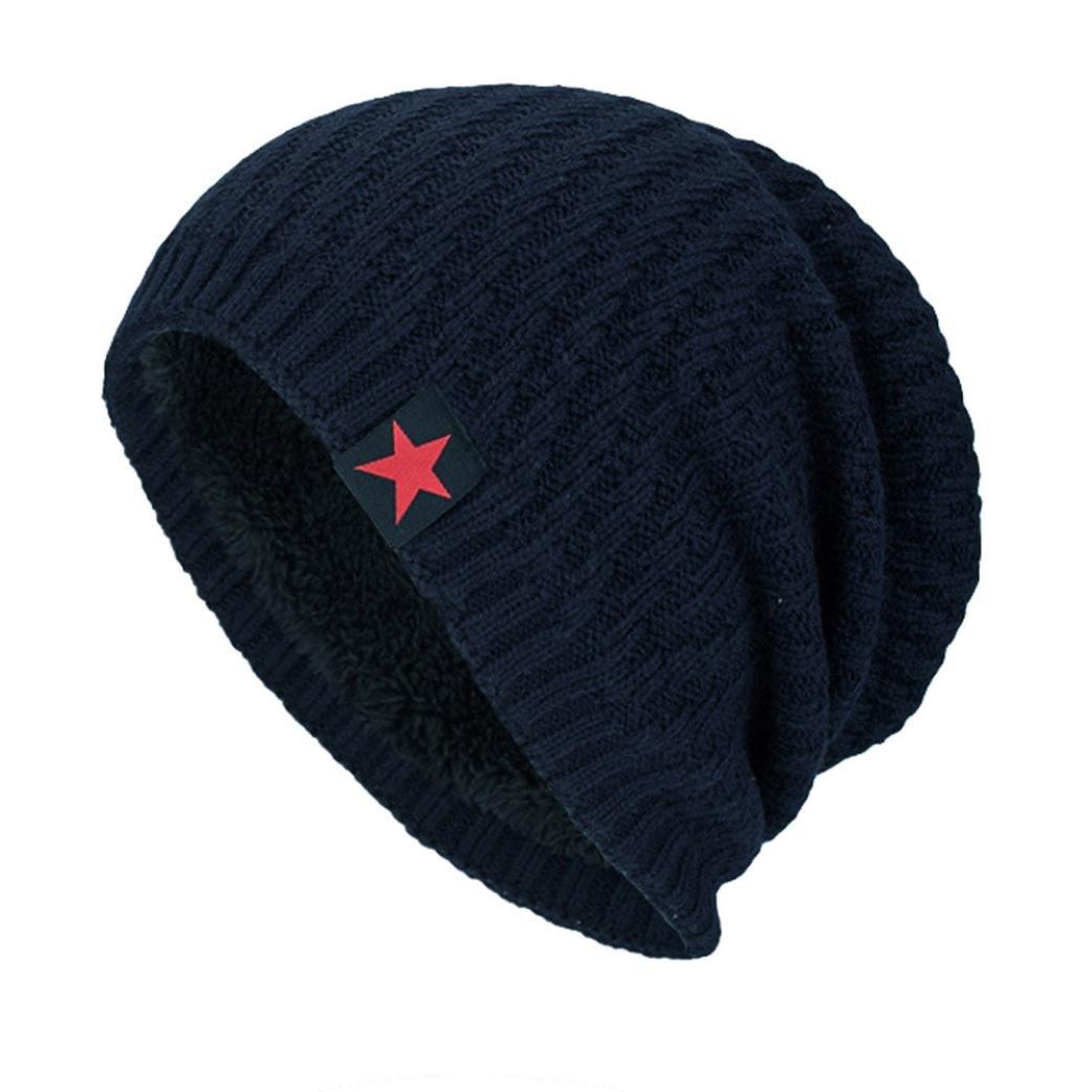 Hmlai Fashion Hat,Unisex Winter Knit Wool Warm Hat Thick Soft Stretch Slouchy Beanie Skully Cap (Navy)