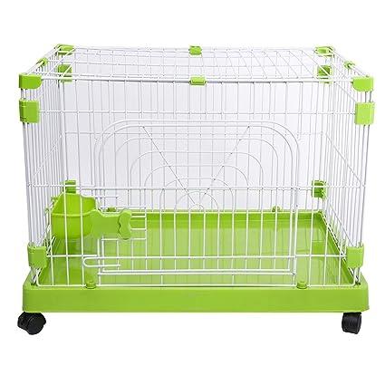 Barrera seguridad Pequeño Cajón Portátil para Perros con Ruedas, Verde Metal Plástico Pet Cat House
