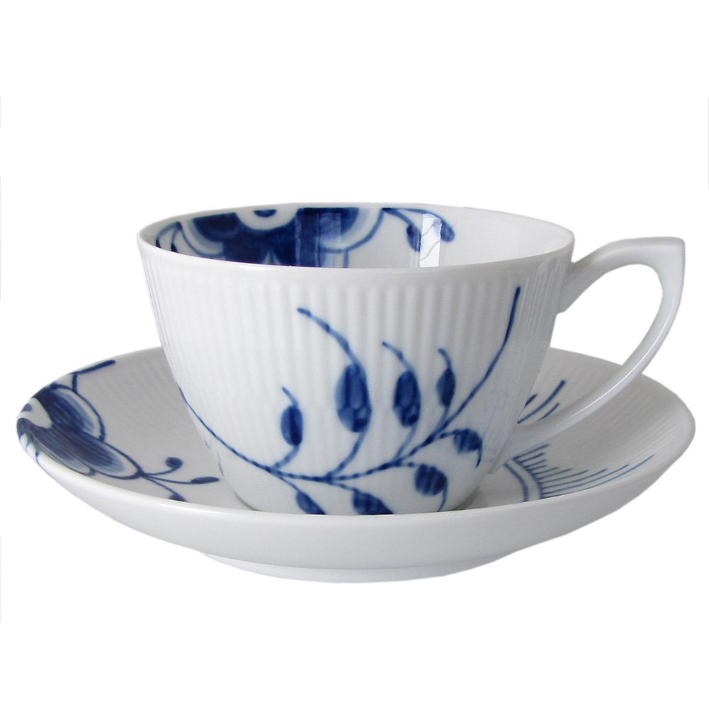 Blue Fluted Mega 9.47 oz. Tea Cup and Saucer