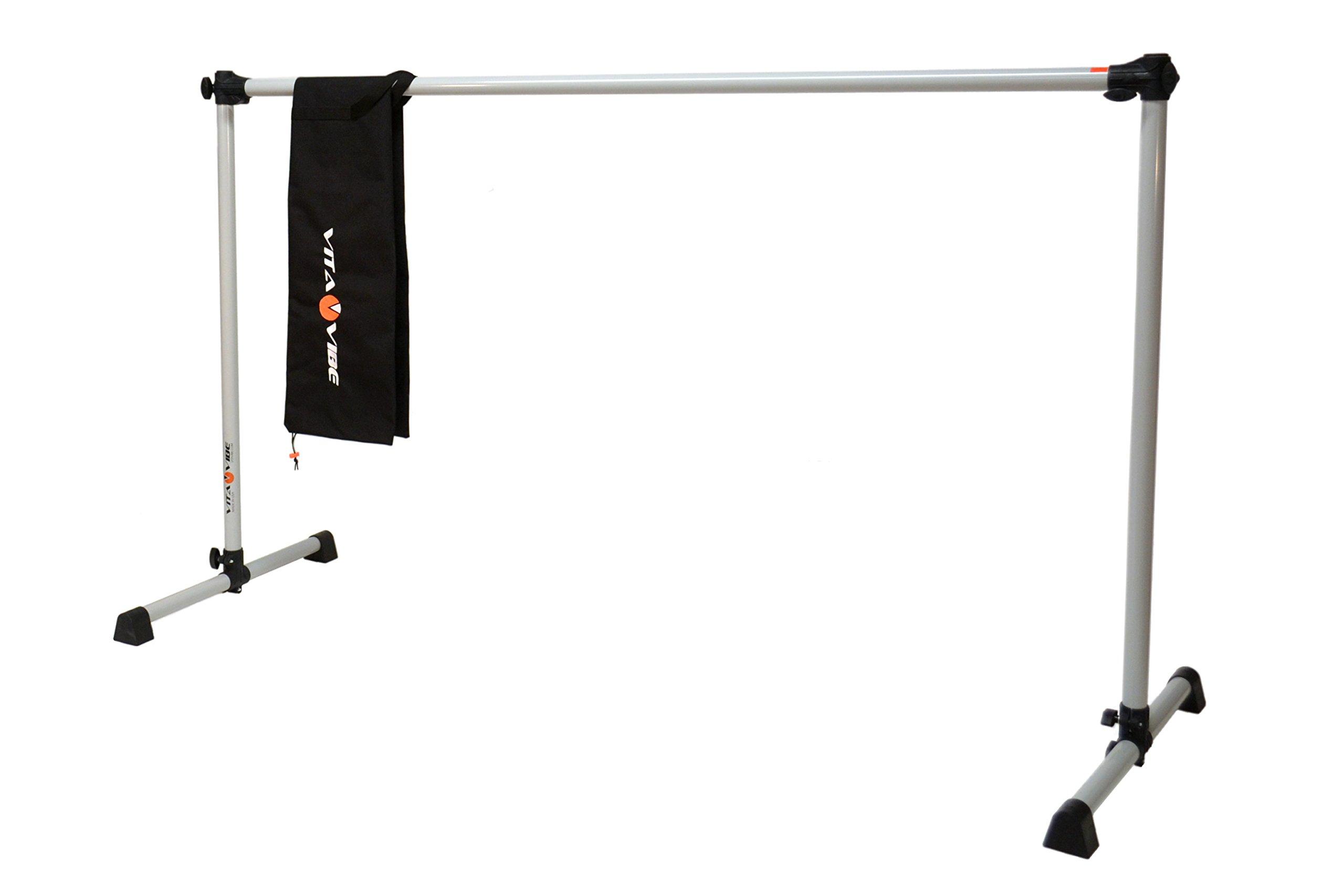Vita Vibe Ballet Barre - BNB4 4ft Portable Single Bar w/Bag - Freestanding Stretch/Dance Bar - Vita Vibe - USA Made … (Satin Silver)