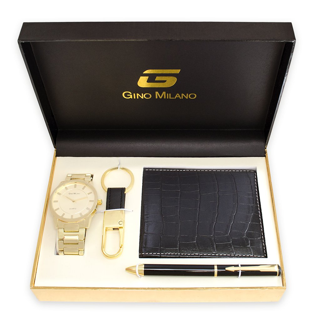 Men's Gold Watch Gift Set With Wallet, Pen & Key Chain (Gold Dial)