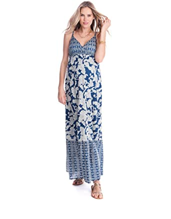 0ba0ab0ab67ad Seraphine Matilda Bohemian Printed Maternity Nursing Maxi Dress - Blue - 2  at Amazon Women's Clothing store: