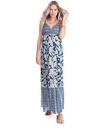 bb73d1bbcdb4f Seraphine Matilda Bohemian Printed Maternity Nursing Maxi Dress - Blue - 2  at Amazon Women's Clothing store: