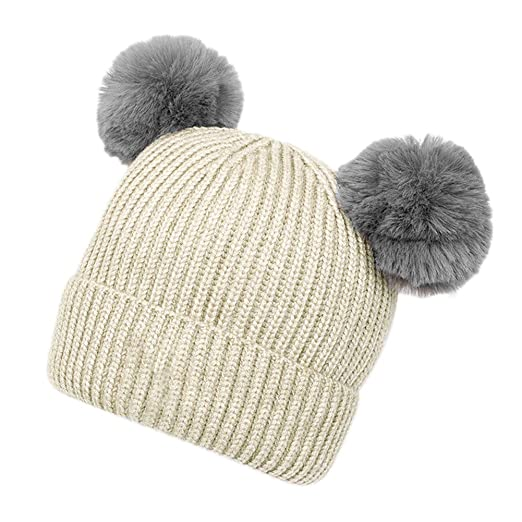 9b373285e84 Amazon.com  Baby Girls Boys Warm Knit Winter Hat Cute Pom Toddler Double  Layer Beanie Hat  Clothing