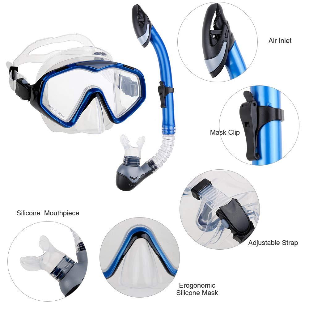 802e844874a Zacro Snorkel Diving Set Upgraded Anti-Fog Snorkel Mask Free Breathing Anti- Leak Dry Top Snorkel