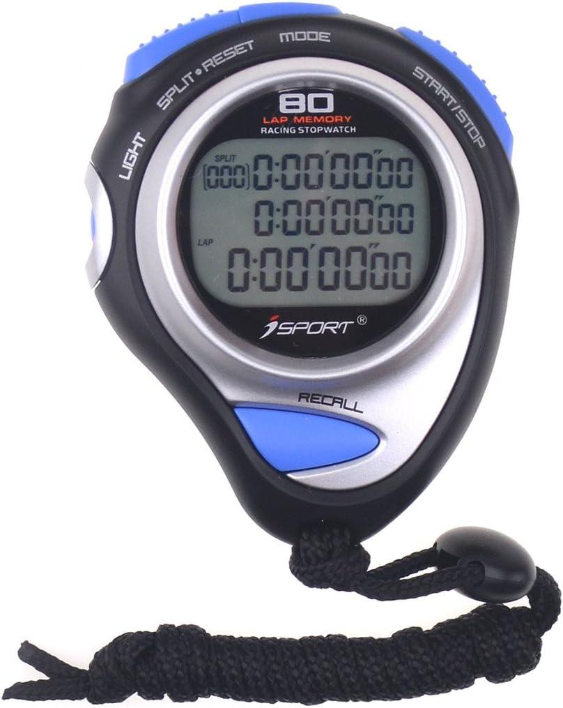Cronómetro digital de tres filas de visualización de atletismo de carreras cronómetros con memoria de 80 vueltas de tiempo dividido para entrenadores deportivos y árbitros