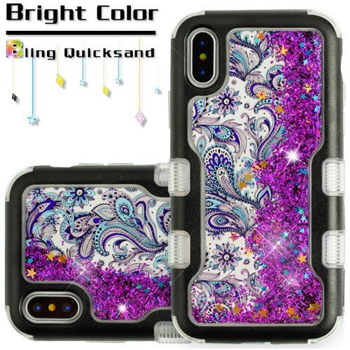 For iPhone X Case, Kaleidio [Vivid TUFF] Glitter Liquid Hybrid Silicon Bumper Cover for Apple iPhone X / iPhone 10 [Includes a Overbrawn Prying Tool] [Quicksand Purple Paisley Flower/Purple Hearts] - Paisley Hearts