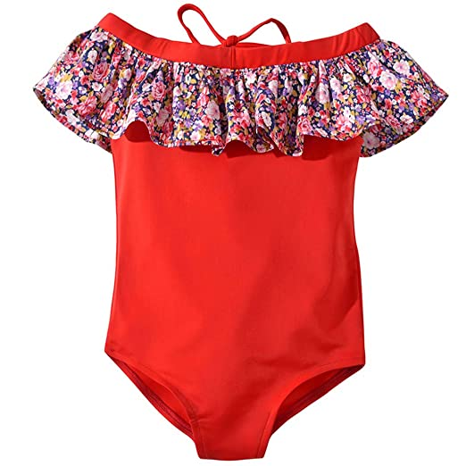 31f05ec3e9cbe Image Unavailable. Image not available for. Color: Baby Kids Girls  One-Piece Swimsuits Off Shoulder Floral Ruffle Pool Swimwear Summer (Red