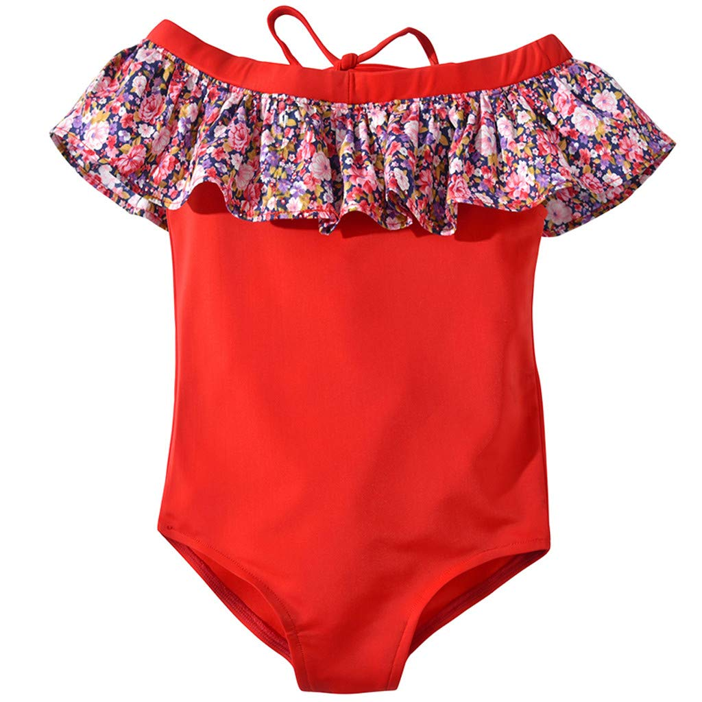Toddler Baby Kids Girls Off Shoulder Ruffles Floral Beach Swimwear Swimsuit