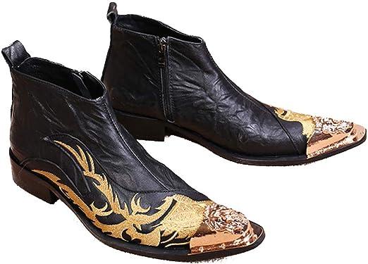 Zapatos de cuero puntiagudos para hombre, Vaquero de cuero casual ...