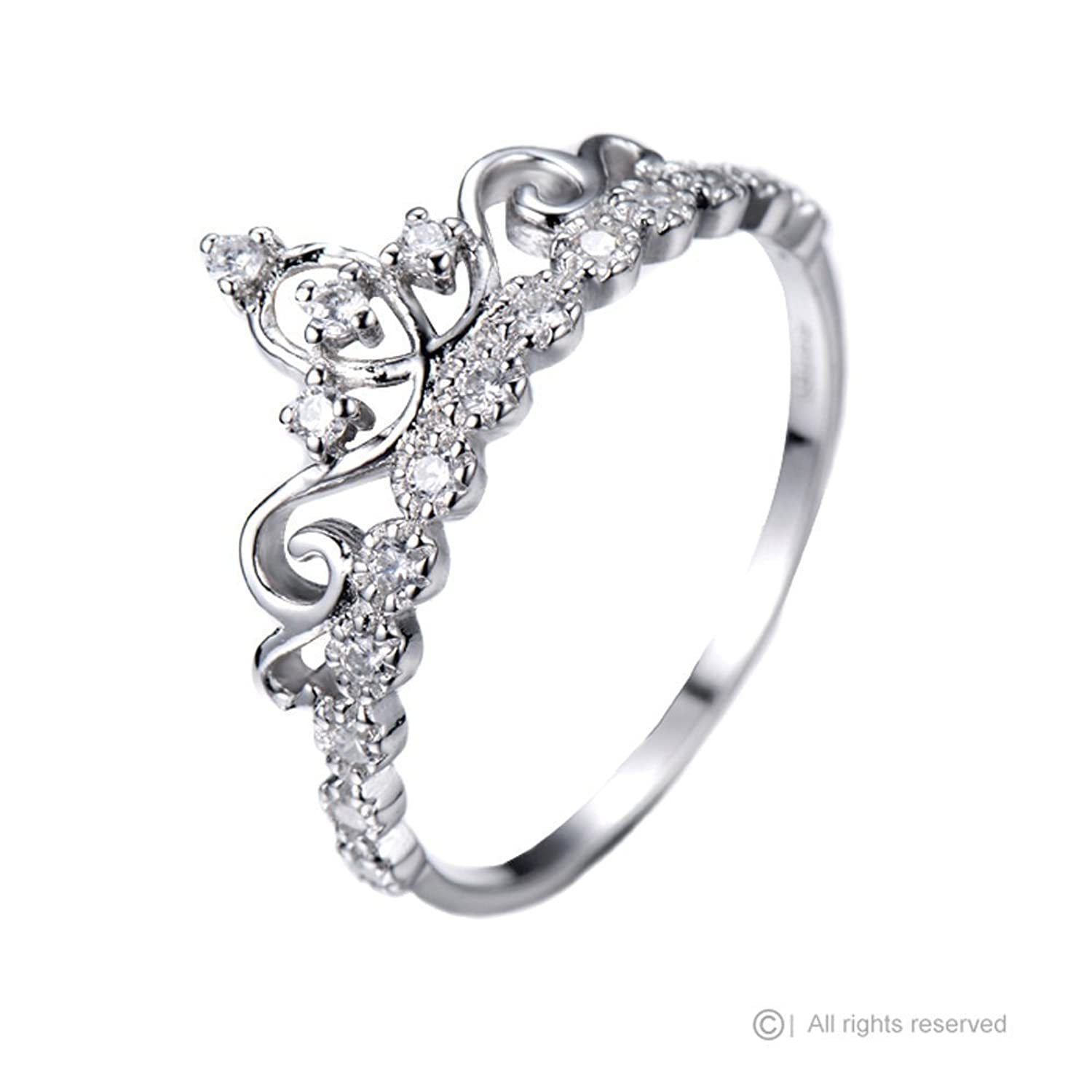 Amazon.com: Dainty Rhodium-plated Sterling Silver Princess Crown ...