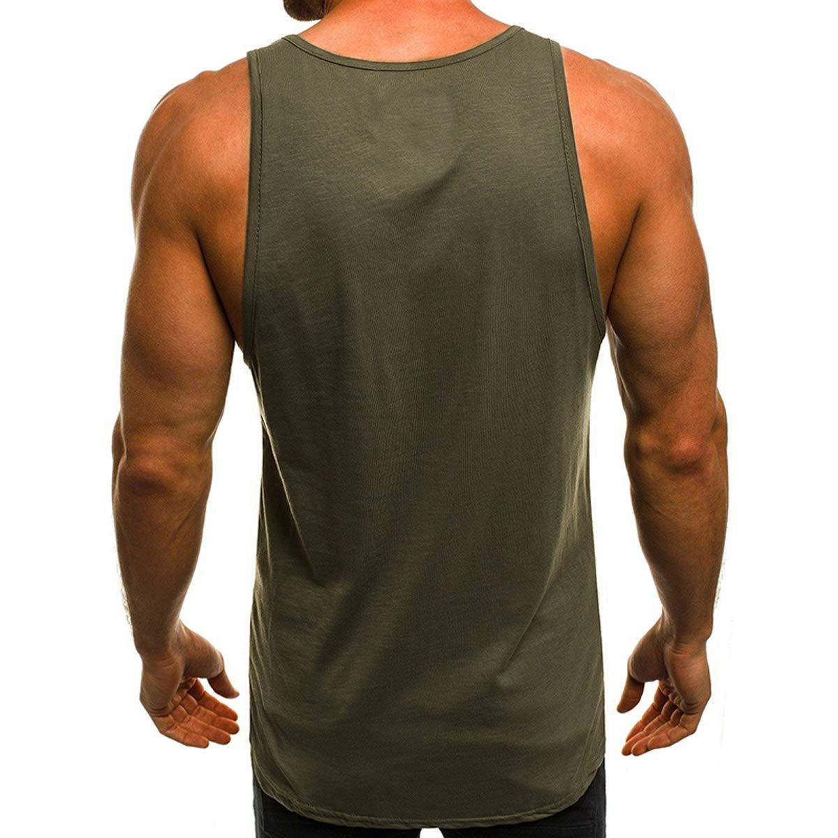 Otto Dobbin Summer New Mens Letter Printing Round Neck Slim Fitness Sports Casual Sleeveless Bottoming Vest