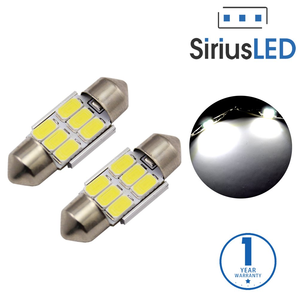 SiriusLED 5730 Chip Super Bright SMD LED Bulbs for Interior Car Lights Dome License Plate Door Courtesy 31MM Festoon 3175 DE3175 6418 6000K Xenon White
