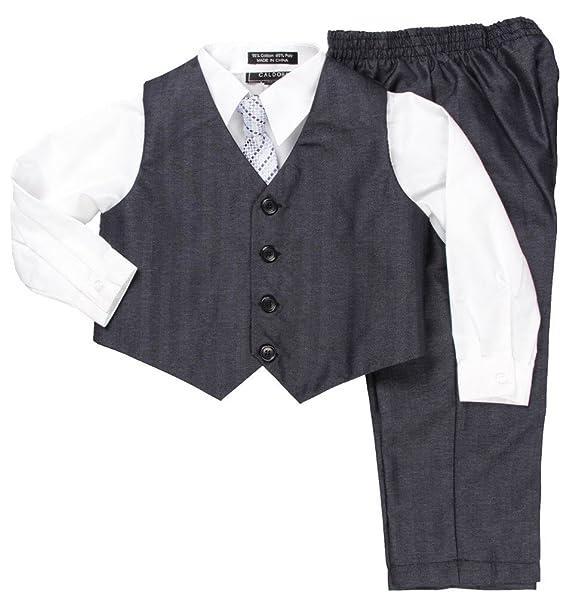 Amazon.com: caldore Boys 4pc Formal Chaleco Set, 7, Blanco ...
