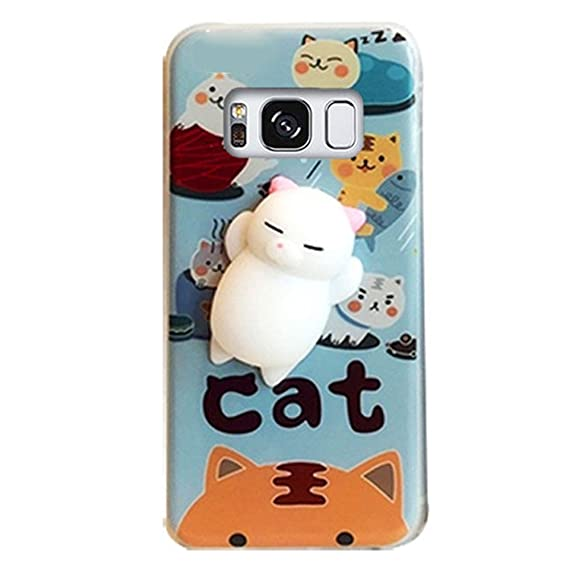 buy online 0cf48 8f39b DStores Squishy Case for Galaxy S7 Edge, Cute Squeeze Stretch Compress Slow  Rising Healing Stress Reduce Soft Silicone 3D Cat Back TPU Cover for ...