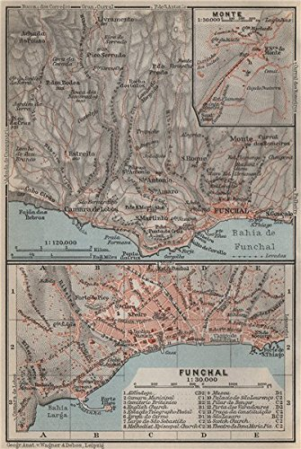 FUNCHAL town city plan & environs. Inset Monte. Madeira, Portugal mapa - 1911 - old map - antique map - vintage map - Portugal map s