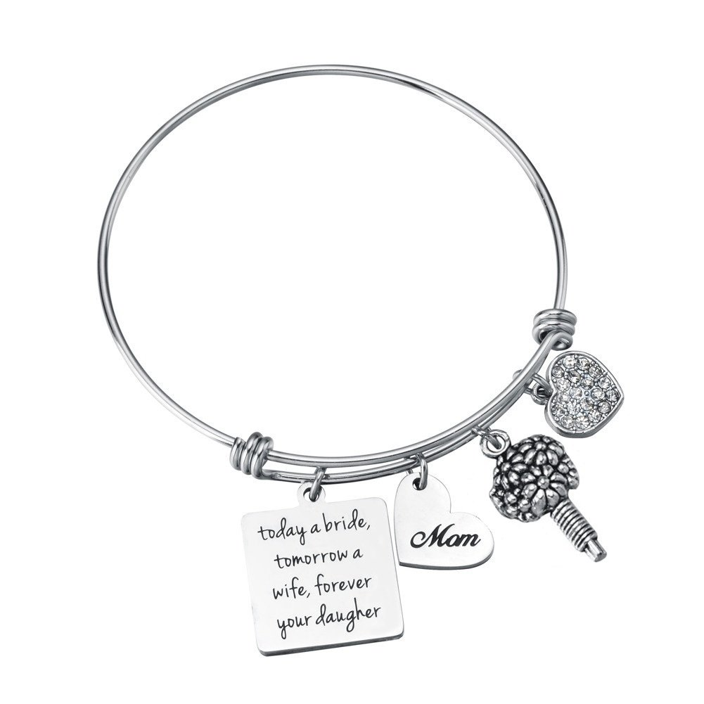 Miss Pink Mother of The Bride Gifts From Daughter Today A Bride Tomorrow A Wife Forever Your Daughter Charm Bangle Bracelet Wedding Jewelry for Mom