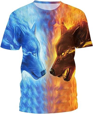PXUDB Para Mujer Hielo Fuego Lobo Gráfico Corto Manga Camiseta Súper Premium Cuello Redondo Camisa, A-XXXL: Amazon.es: Ropa y accesorios