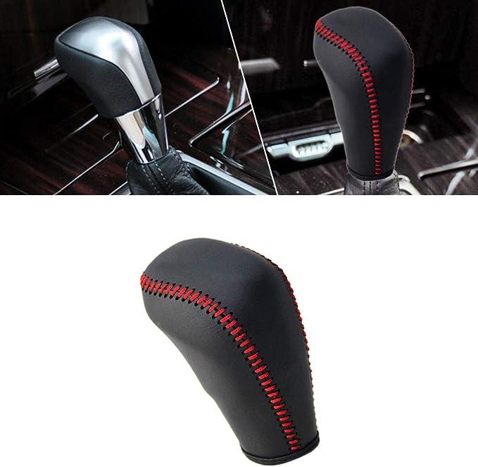 Image ofFunda de Palanca de Cambios de Cuero Protector para REIZ 2010-2013 automatico pomos Palanca de Cambios DSG Shifter con Costuras en Rojo Tipo I