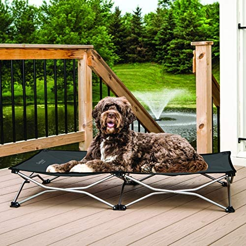 Carlson Pet Products 8025 Elevated Folding Pet Bed 47 Long, Includes Travel Case, Charcoal