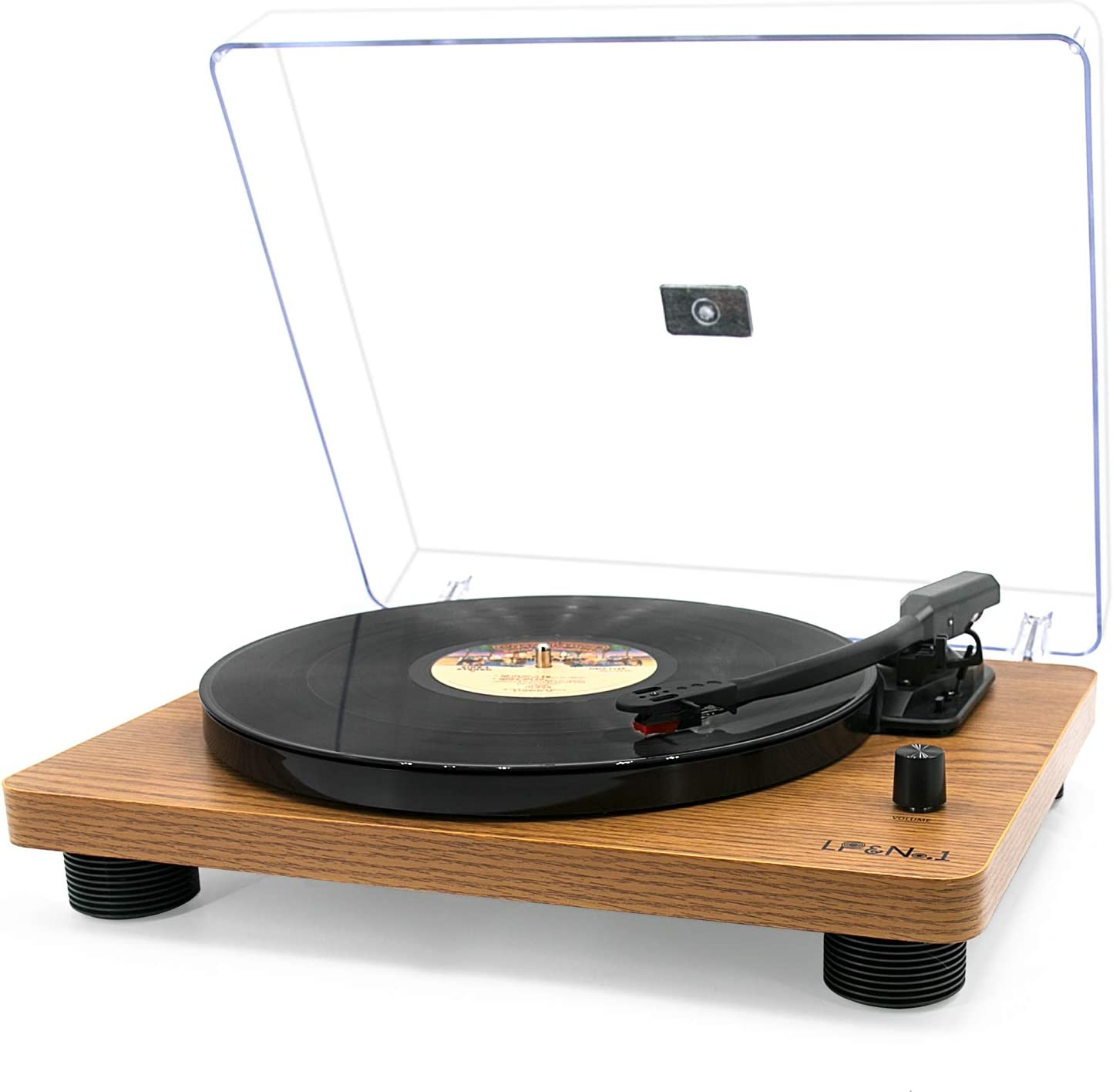 LP&No.1 Retro Record Player Supporting Vinyl to MP3 Recording, 3-Speed Belt Drive Turntable with Built-in Stereo Speakers and RCA Output, Yellow Wood Finish