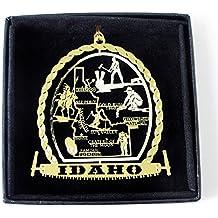 Idaho State Brass Christmas Ornament Black Leatherette Gift Box