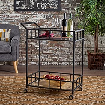 Christopher Knight Home 302209 Talon Indoor Industrial Modern Black Iron Bar Cart with Tempered Glass Top,
