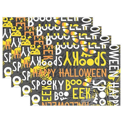 Letter Halloween Boo Placemats for Kitchen Table Mat Home Plate Mat Heat Ristant Washable, Set of 6]()