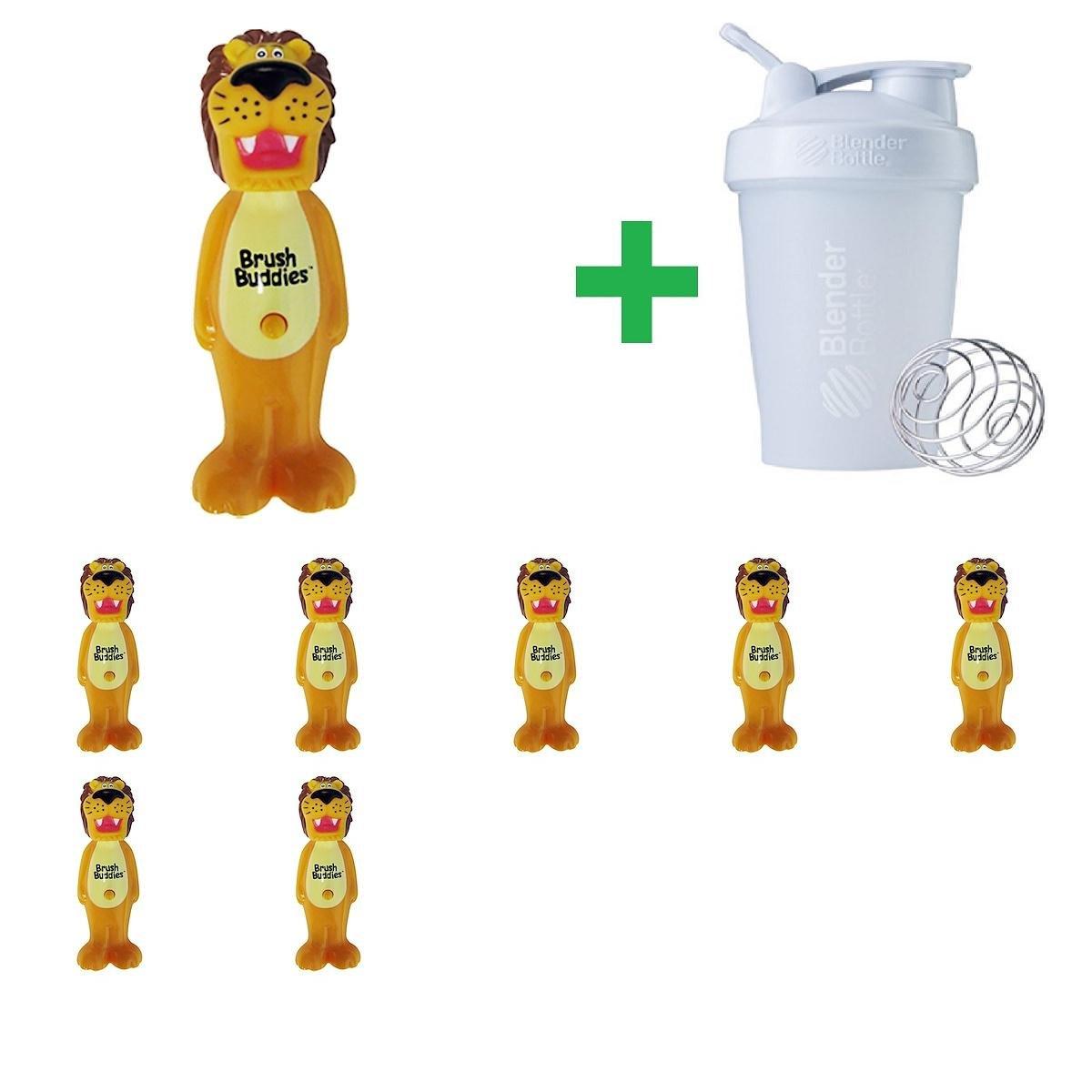 Brush Buddies, Poppin', Rickie Lion, Soft, 1 Toothbrush(8 Packs)+ Assorted Sundesa, BlenderBottle, Classic With Loop, 20 oz by Brush BuddiesToothbrush
