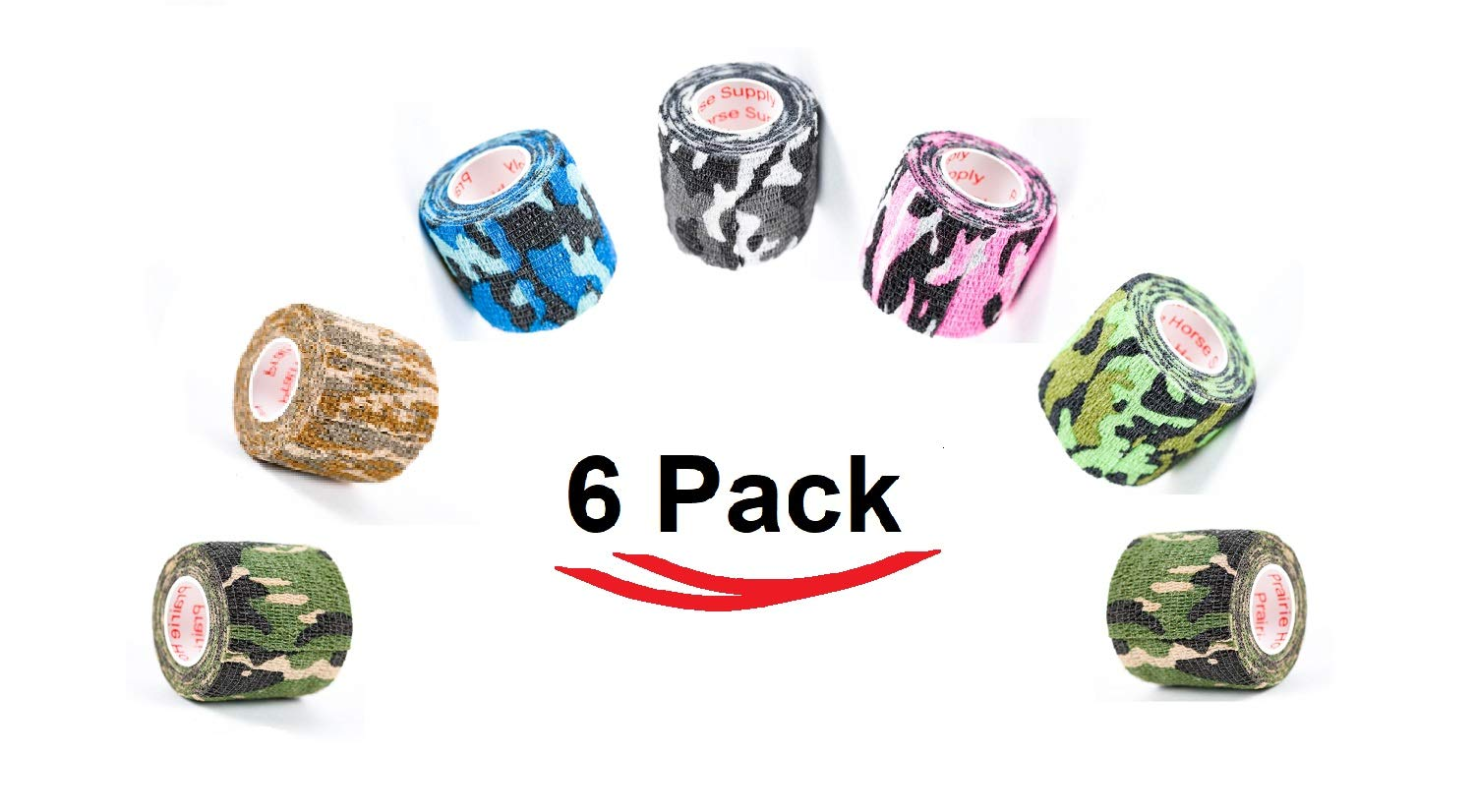 Prairie Horse Supply Vet Wrap Tape Bulk (Assorted Camo Colors) (6 Pack) (2 Inches x 15 Feet) Vet Rap Medical First Aid Tape Self Adhesive Adherent for Ankle Wrist Sprains and Swelling by Prairie Horse Supply