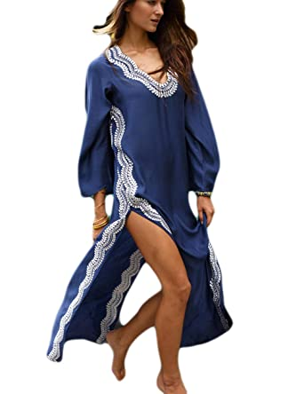 fb08d1dc61 Bsubseach Navy Embroidery Long Sleeve Swimsuit Cover Up for Women V Neck  High Split Swimwear Beach