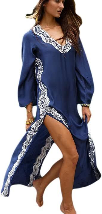 Bsubseach Women Beachwear Kaftan Swimsuit Cover Ups Casual Beach Long Dress