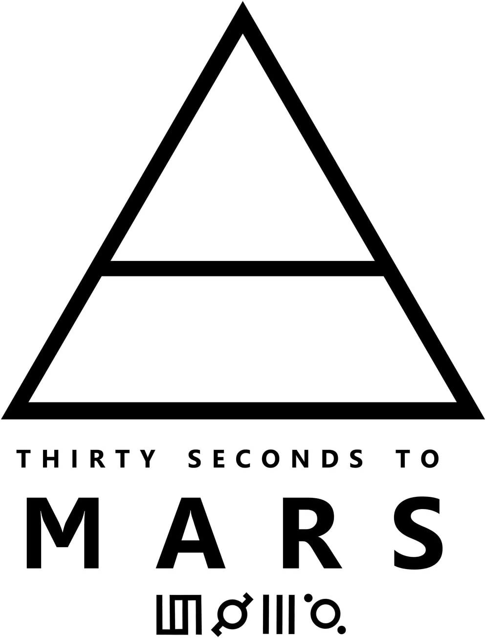 """30 Seconds to Mars Logo Decal Sticker, White, Black, Silver, Red, Green, Yellow, Orange, or Blue, H""""8 By L""""6 Inches"""