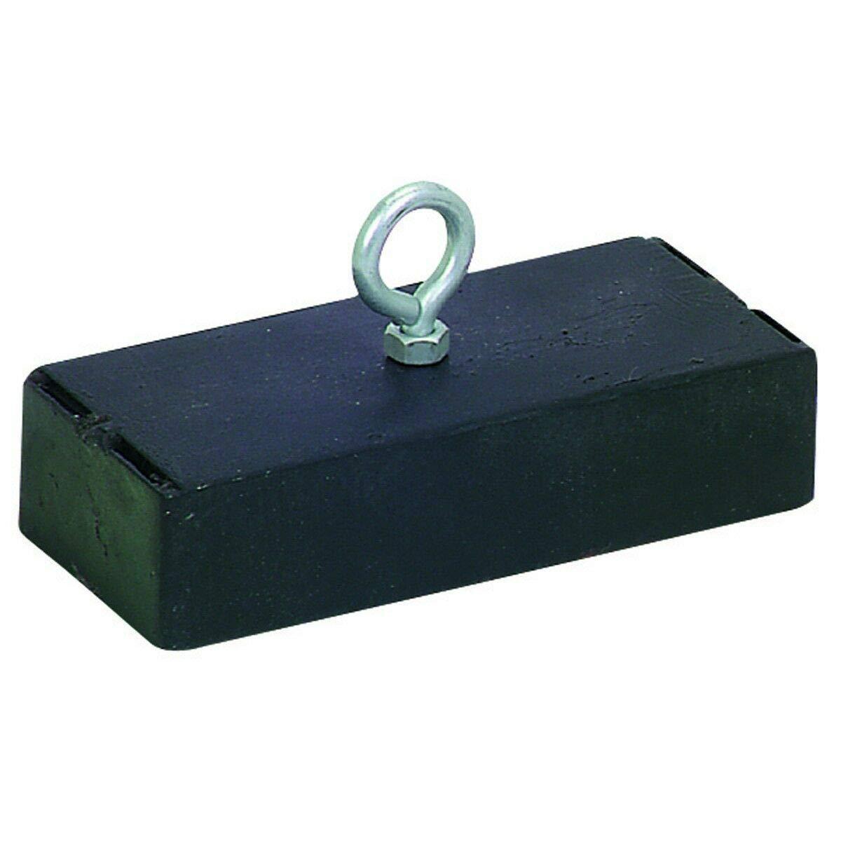 Jak N Joe 250 lb Pull Retrieving Magnet Ferrite Black Lost Fishing Gear Scrap Metal Nail Retriever Size 6.4'' x 1.5'' x 3.3'' (LxWxH) Modern Style Set of 1