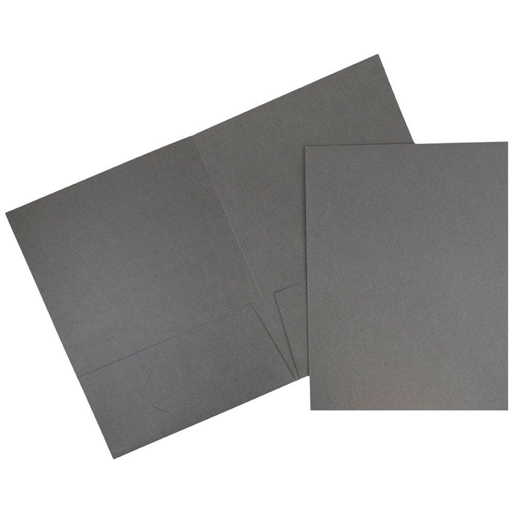 JAM Paper Linen Two Pocket Presentation Folder - Gray Linen - 100/pack