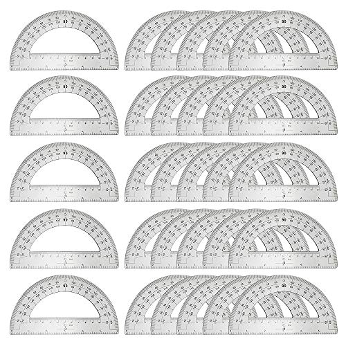 30PCS Clear Plastic Student Math Protractor 6-Inch Long 180 Degree for Angle Measurement