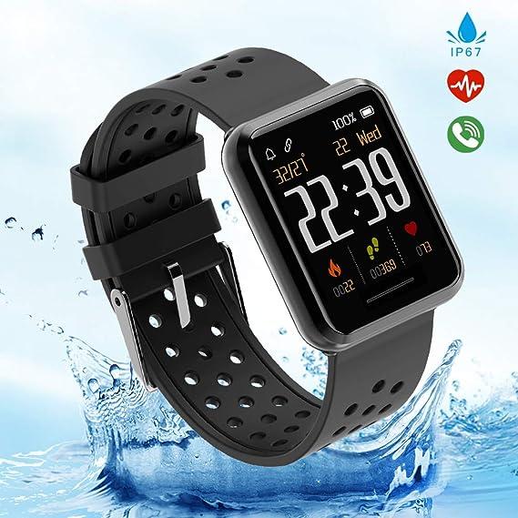 Kospet Smartwatch, Impermeable IP67 Reloj Inteligente con Podómetro/Contador de Calorías/Pulsómetro/Monitor de Sueño/Notificación Llamada y ...
