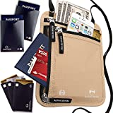 RFID Blocking Neck Wallet Travel Pouch - Passport Holder with 5 Bonus Sleeves