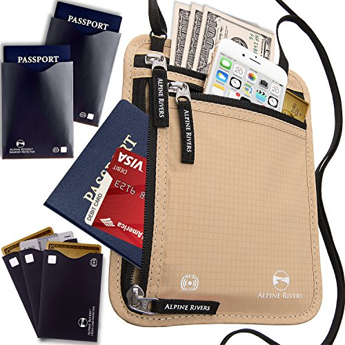 Bonus Sleeve (Neck Wallet Travel Pouch & Passport Holder RFID Blocking with 5 Bonus Sleeves)