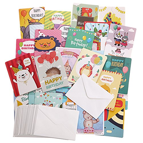 Birthday Cards- Birthday Wishes Cards [36 Designs] - 36 PCS Blank Cards - White Envelopes Included, A