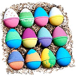 Body Candy Bath Bombs Gift Set - 12 Pack Variety of USA Handmade Natural Fizzy Bath Bombs -Each Bath Bomb is Different Color, Fragrance and Cute Egg Shape