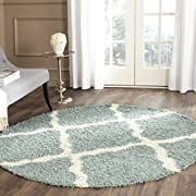 Safavieh Dallas Shag Collection SGD257C Light Blue and Ivory Round Area Rug (6 Diameter)