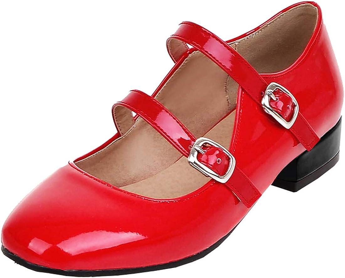 MAVMAX Women's Flat Ankle Strap Pumps