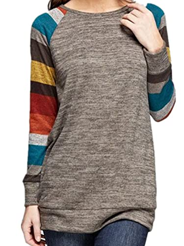 icocopro blusa sudadera manga larga túnica de algodón cómodo rayas Tops