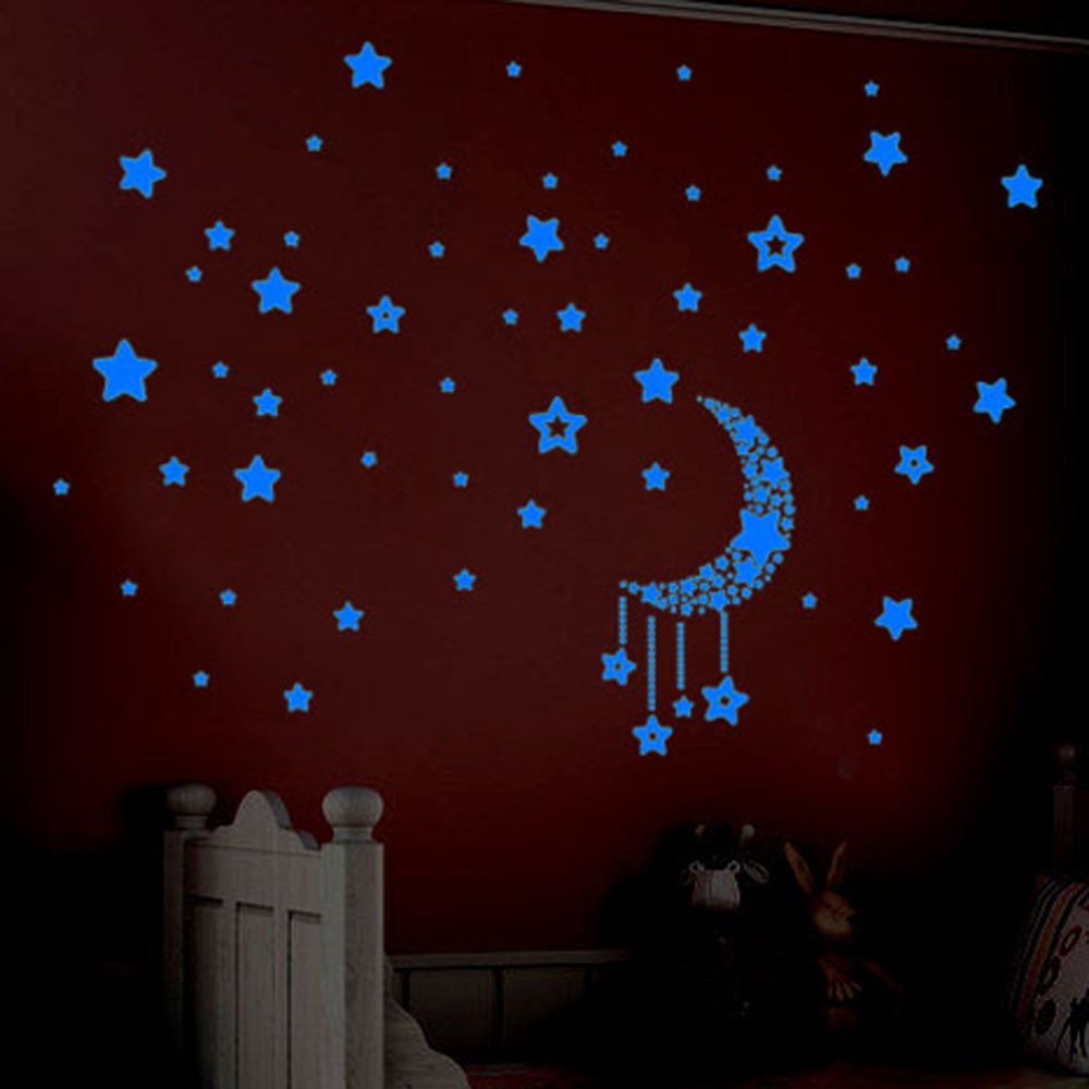 Clothful  A Set Kids Bedroom Fluorescent Glow in The Dark Stars Wall Stickers