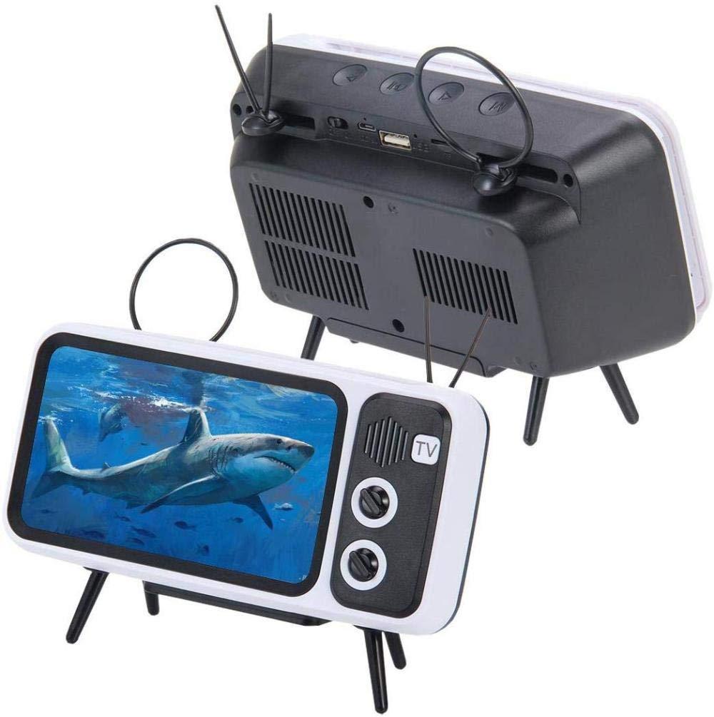 3 en 1 Dispositivo de TV retro Altavoz Soporte para teléfono móvil ...