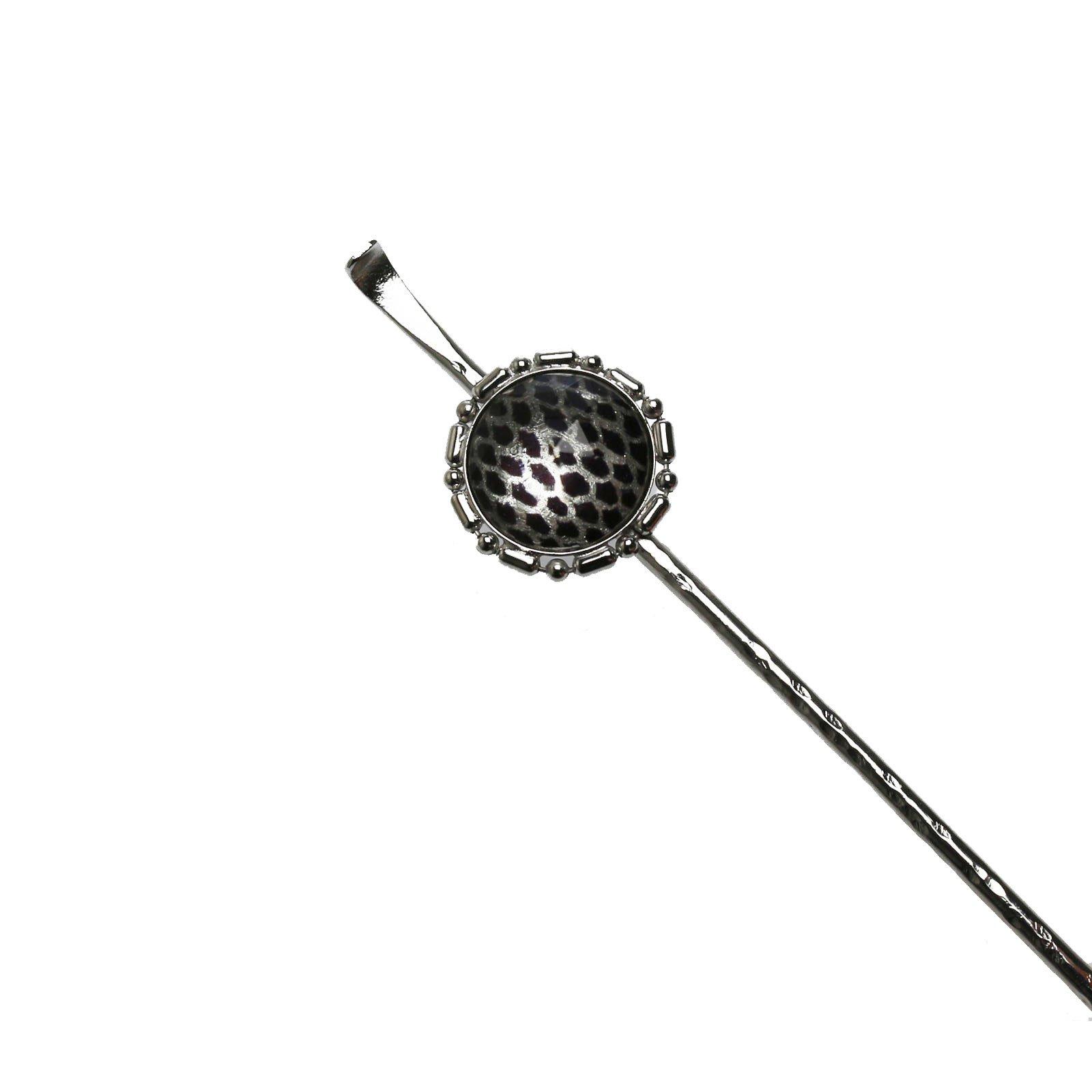Tamarusan Hair Pin Scales Pattern Men'S Simple Ear Pick Fashionable Rhodium Silvery