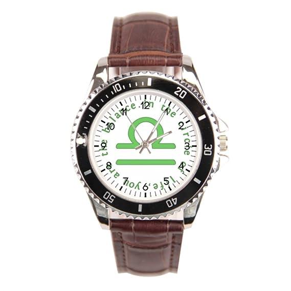 Smile té parte trasera de piel relojes reloj signo astrológico símbolo deportes reloj de pulsera
