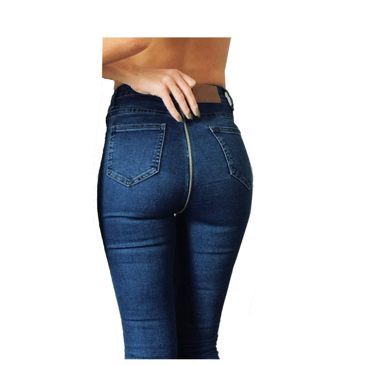Women Ladies Back Zipper Jeans,Autumn Solid Pencil Stretch Denim Skinny High Waist Long Pants Trousers