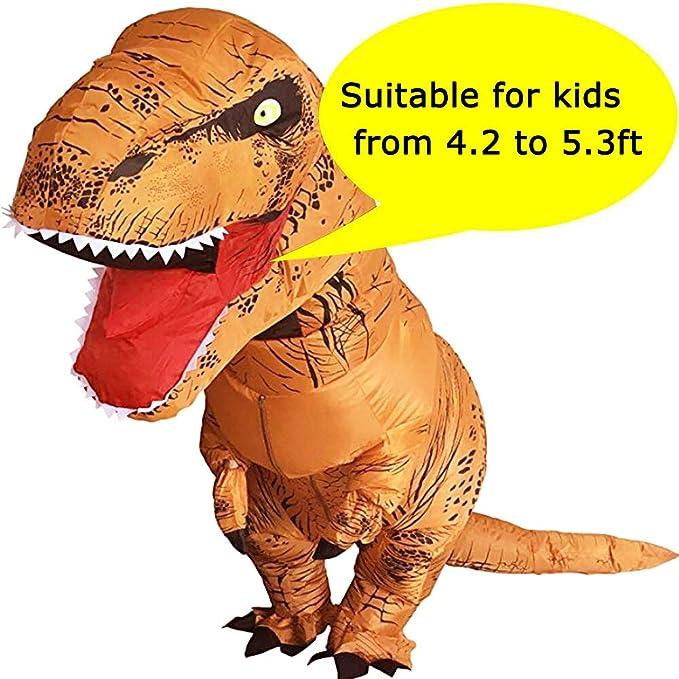 VAMEI T-Rex Disfraz para niños Disfraz de Dinosaurio Traje Inflable de Dinosaurio niños Disfraz de Halloween Traje de Fiesta Divertido con Lazo Bolsa ...